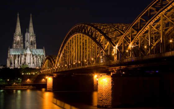 мост, ночь, собор