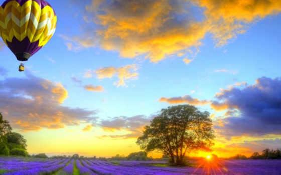 шары, воздушные, со, поле, полем, лавандовым, поля, закате, закат,