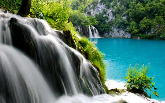 водопад, плитвицкие, озера, озеро, фоны, высоким, водопады, хорватии, рїрѕс,