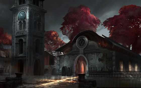 кладбище, ночь, chapel, гробы, забор, часы,