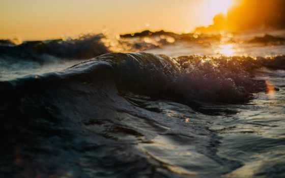 волна, море, imagini, макро, fundal, боке, widescreen, закат,