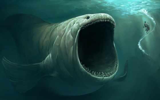большим, фоновые, fish, ртом, рисунки, невероятно, monsters, море, заставки, fantasy,
