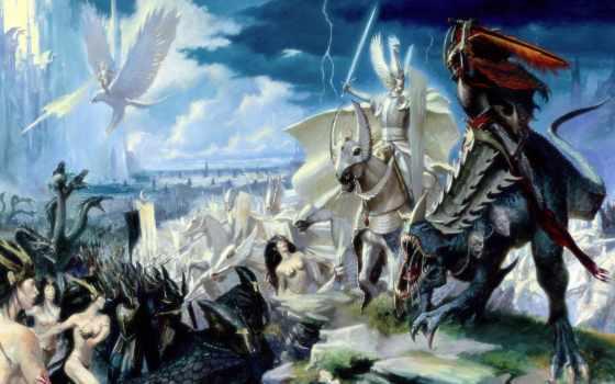 elfy, warhammer, тёмные, битва, всадники, кб, wow, warcraft, world, увеличить,
