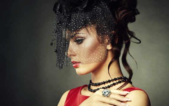 девушка, красивая, шляпе, женщина, картинка, стоковое, ретро, макияж, devushki, фото, красавица,