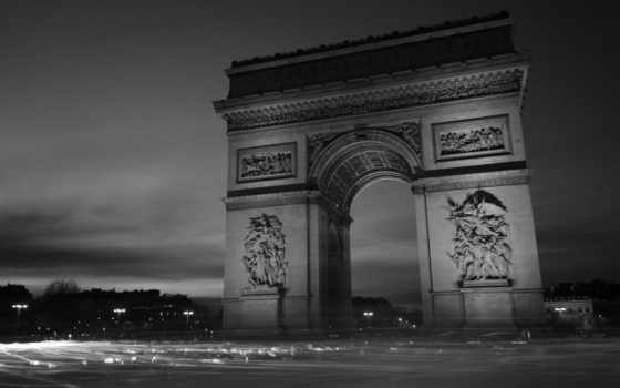 triomphe, arc, париж, арка, франция, file, architecture,
