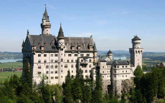 архитектура, germany, castle, красивый, замок, нойшванштайн, баварии, старовинний, пагорб, schloss,