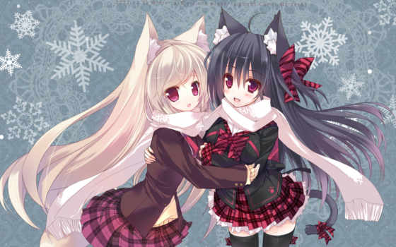 hair, аниме, black, ears, girls, long, ojitcha, animal, tail, original, blonde, bow, fang, checkered, неко, similar, девушки, skirt, картинку, blush,