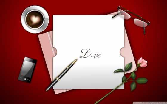 love, письмо, рисунок, ручка, роза, очки, телефон, кофе
