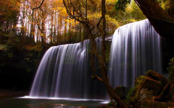 природа, водопад, деревья
