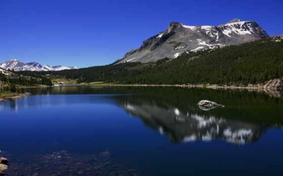 озеро, горное, горы, trees, landscape, небо, wpapers, свой, совершенно,