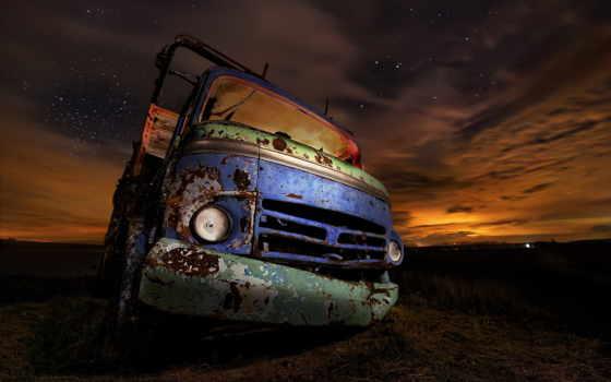 photos, truck, ночь, плакат, car, страница, ночью, старый,