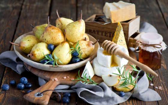 мед, fruits, pears, озеро, сыр,