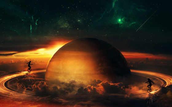 сатурн, cosmos, моряк, universe, fantasy, ночь,