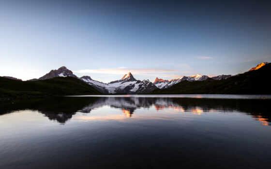 гора, озеро, снег, природа, закат