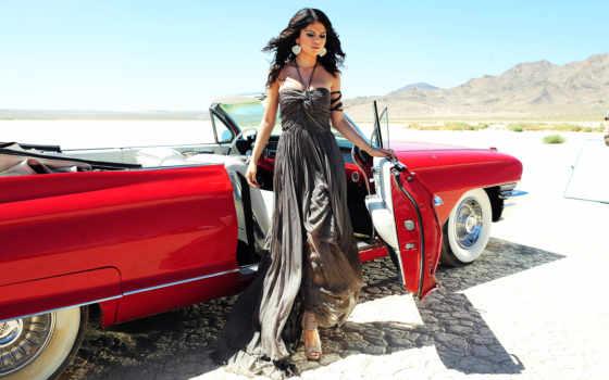 девушка, cadillac, cabriolet, платье, red, шикарном, кабриолета, дек, выходит,