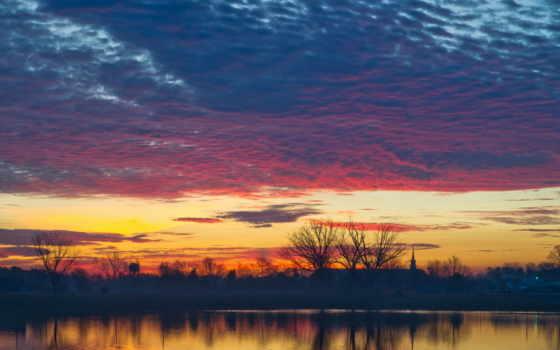 закат, озеро, вечер, природа, trees, oblaka, небо, сша, fone,