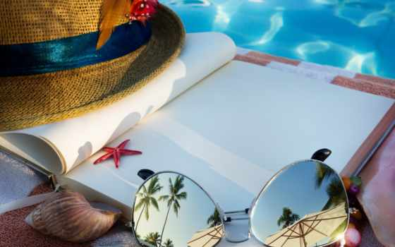 plage, livre, sur, lunettes, soleil, chapeau, des, art, paille,
