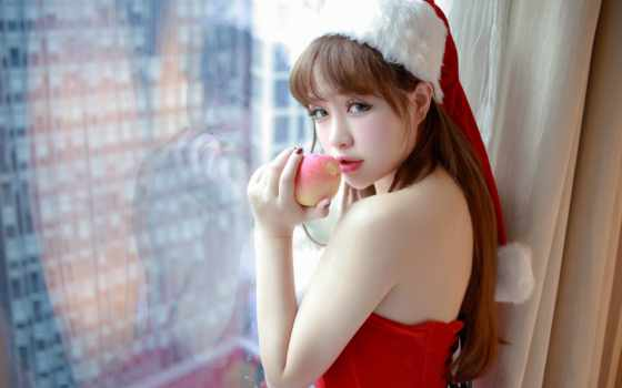 asian, женщина, девушка, платье, санта, strapless, red, white, top, xiu
