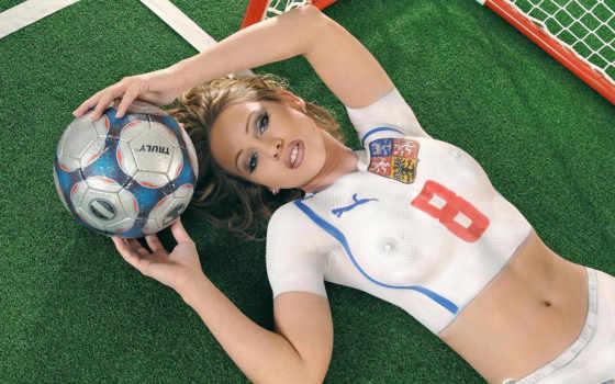 девушка, девушки, лежит, форме, разных, футболистки, спортивной,