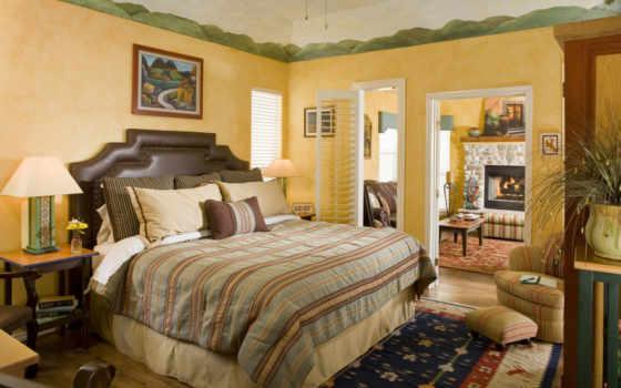 комната, спальная, комнаты, interer, постель,
