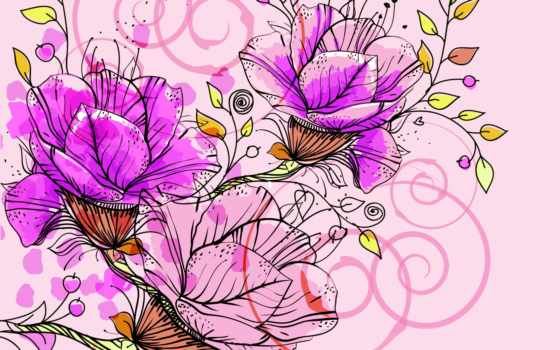 абстракция, цветы, рисунок
