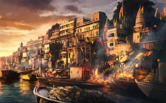 город, fantasy, огонь