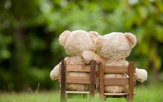 медведь, teddy, кресло, sit, браун, toy, wooden, medvezhonok, два, lovely
