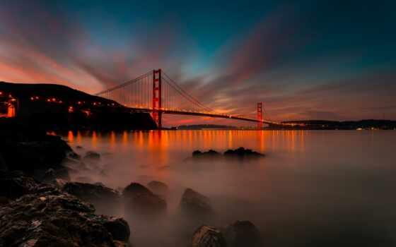 san, francisco, sana, город, gate, золотистый, мост