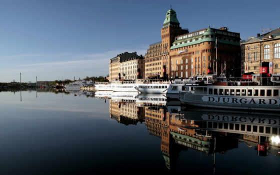 река, катера, здания, набережная, город, отражения, вода, картинка, architecture, mirror, full,