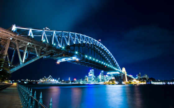 sydney, bridge, desktop, download, синих, фонарях,