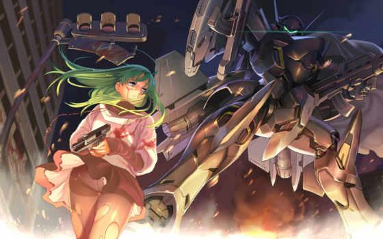 robot, girl, anime