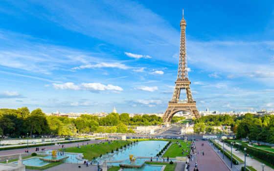 париж, turret, город, эйфелева, summer, франция, небо, , города,