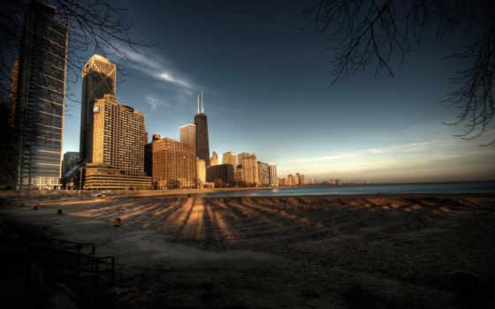 город, города, chicago, ночь, usa, огни, ночного,