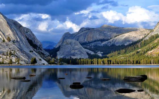 park, national, горы, озеро, water, отражение, yosemite, лес, картинка, coupe,