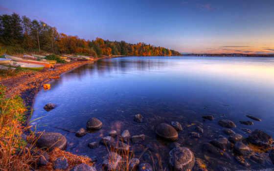осень, природа, oblaka, небо, landscape, озеро, широкоформатные, осенние, лодки,