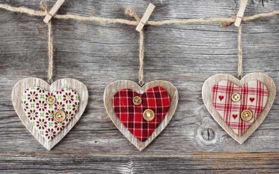 сердца, сердечки, деревянные, ткань,