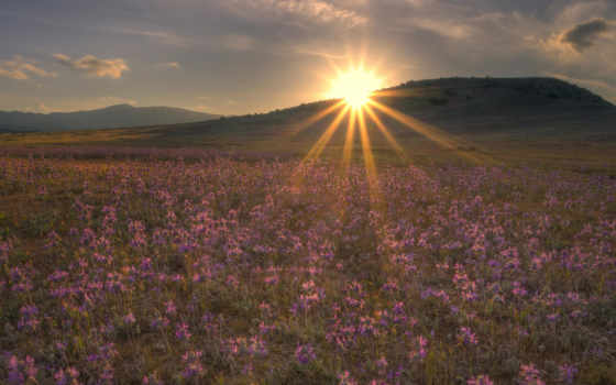 sun, за, солнца, небо, summer, rays, горы, вечер, колл, свет, закат,