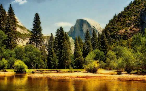 горы, лес, природа, озеро, sierra, nevada, весна, yosemite, national, park, небо,