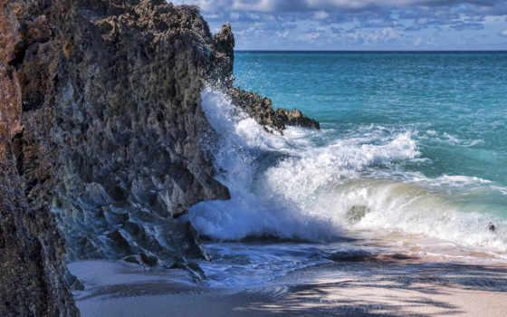 waves, скалы, море, пенка, бьются,