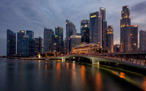 город, singapore, огни, небоскрёб, ночь, мост