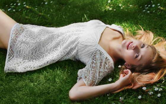 платье, девушка, траве