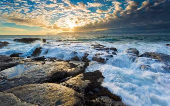 природа, sun, волны