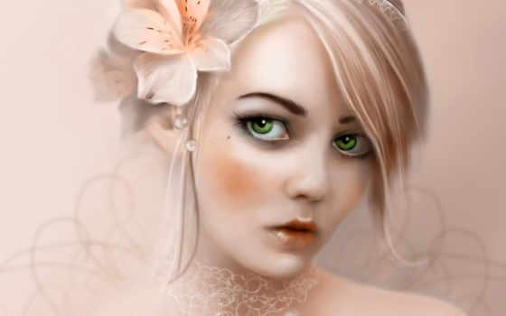 девушка, глазами, зелёными, свет, волосах, большими,