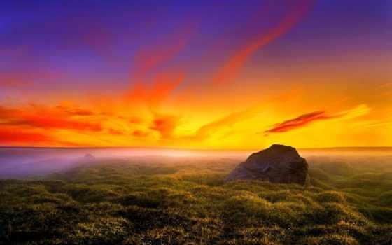 закат, небо, трава, oblaka, distance, фоны, рассвет, солнца, plain, горизонт, sun,