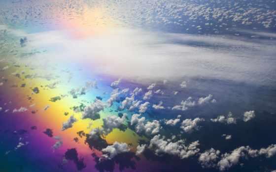 радуга, oblaka, небо, высоком, качестве,