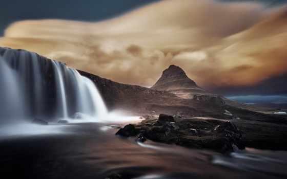 kirkjufell, водопад, iceland, гора, теме,