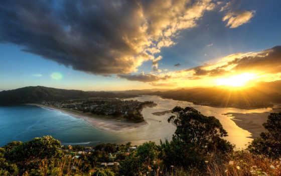 закат, sun, new, море, zealand, rising, качество, high, очень, energy, дорога