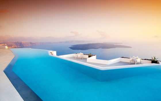 hotel, greece, santorinit, остров, бассейн, landscape, море, закат