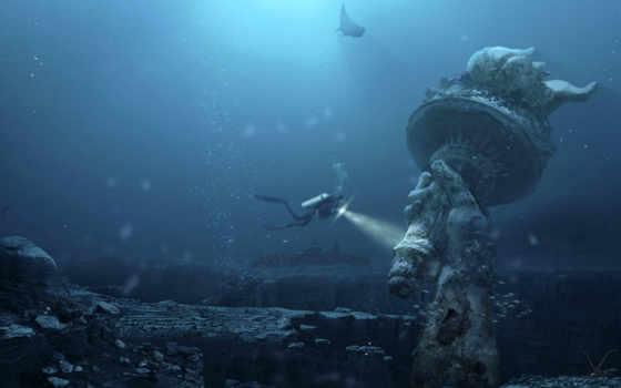 статуя, underwater