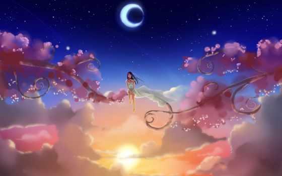 солнце, oblaka, звезды